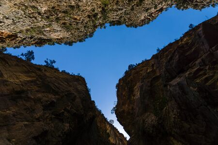 cleft: Samaria Gorge. A view of the top from the cleft. The largest European gorge. Crete. Greece.