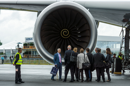 turbofan: BERLIN, GERMANY - JUNE 01, 2016: Turbofan engine of the newest airplane Airbus A350 XWB. Exhibition ILA Berlin Air Show 2016