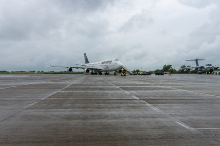 747 400: BERLIN, GERMANY - JUNE 01, 2016: International Airport Schoenefeld. Iron Maidens Boeing 747 Ed Force One. The world tour The Book of Souls