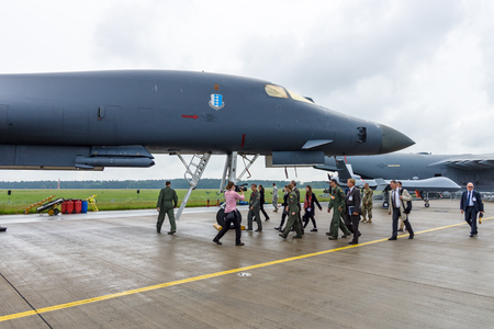 supersonic: BERLIN, GERMANY - JUNE 01, 2016: A four-engine supersonic variable-sweep wing, jet-powered heavy strategic bomber Rockwell B-1B Lancer. US Air Force. Exhibition ILA Berlin Air Show 2016