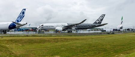 newest: BERLIN, GERMANY - JUNE 02, 2016: The newest Airbus A350 XWB at the airfield. Exhibition ILA Berlin Air Show 2016