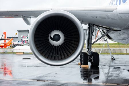 simulate: BERLIN, GERMANY - JUNE 01, 2016: Turbofan engine of the aircraft for simulate of the effects zero gravity - Airbus A310 ZERO-G. Exhibition ILA Berlin Air Show 2016