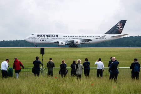 747 400: BERLIN, GERMANY - JUNE 01, 2016: Iron Maidens Boeing 747 Ed Force One. The world tour The Book of Souls. Exhibition ILA Berlin Air Show 2016