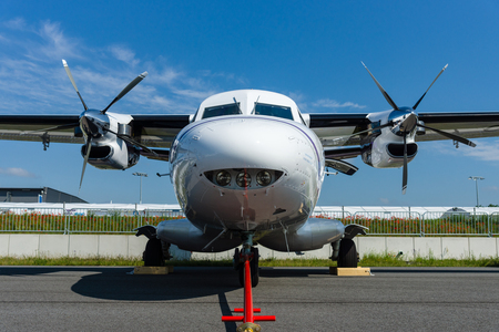 airstrip: BERLIN, GERMANY - JUNE 02, 2016: A twin-engine short-range transport aircraft Let L-410NG Turbolet. Exhibition ILA Berlin Air Show 2016 Editorial