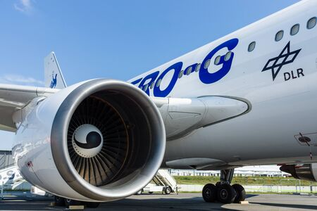 BERLIN, GERMANY - JUNE 01, 2016: Turbofan engine of the aircraft for simulate of the effects zero gravity - Airbus A310 ZERO-G. Exhibition ILA Berlin Air Show 2016