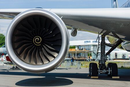 BERLIN, GERMANY - JUNE 01, 2016: Turbofan engine of the newest airplane Airbus A350-900 XWB. Exhibition ILA Berlin Air Show 2016