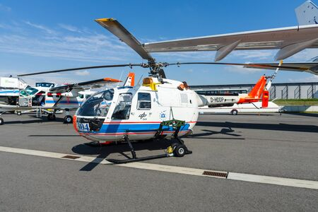 aerospace: BERLIN, GERMANY - JUNE 02, 2016: Research helicopter Eurocopter MBB Bo105 by German Aerospace Center (DLR). Exhibition ILA Berlin Air Show 2016