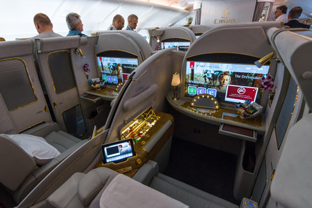 first class: BERLIN, GERMANY - JUNE 02, 2016: Interior of first class of the worlds largest aircraft Airbus A380. Emirates Airline. Exhibition ILA Berlin Air Show 2016