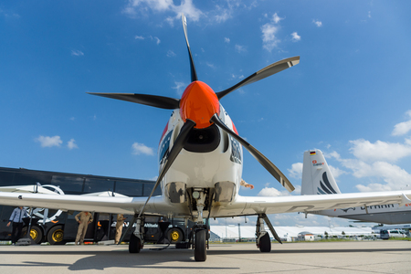 turboprop: BERLIN, GERMANY - JUNE 02, 2016: Two-seat turboprop training and aerobatic low-wing aircraft Grob G120TP. Exhibition ILA Berlin Air Show 2016 Editorial