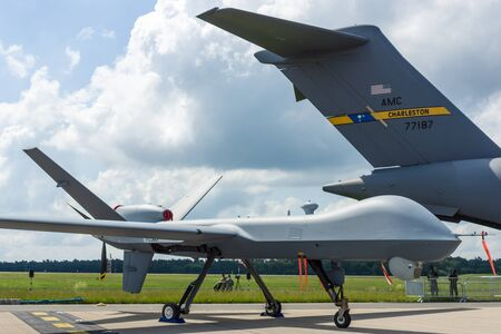us air force: BERLIN, GERMANY - JUNE 02, 2016: Unmanned combat air vehicle General Atomics MQ-9 Reaper. US Air Force. Exhibition ILA Berlin Air Show 2016