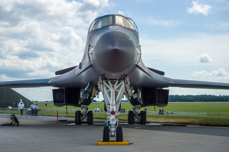 supersonic: BERLIN, GERMANY - JUNE 02, 2016: A four-engine supersonic variable-sweep wing, jet-powered heavy strategic bomber Rockwell B-1B Lancer. US Air Force. Exhibition ILA Berlin Air Show 2016