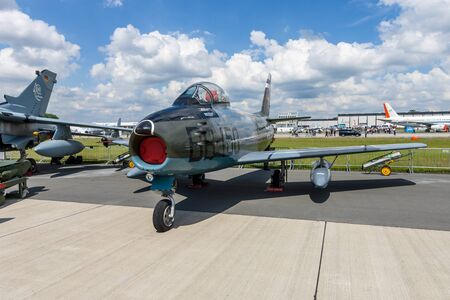 sabre: BERLIN, GERMANY - JUNE 02, 2016: Jet fighter aircraft Canadair CL-13A Sabre 5. German Air Force (Luftwaffe). Exhibition ILA Berlin Air Show 2016 Editorial