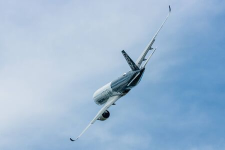 BERLIN, GERMANY - JUNE 02, 2016: Demonstration flight Airbus A350 XWB. Exhibition ILA Berlin Air Show 2016 Editorial