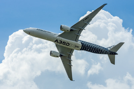 air demonstration: BERLIN, GERMANY - JUNE 02, 2016: Demonstration flight Airbus A350 XWB. Exhibition ILA Berlin Air Show 2016 Editorial