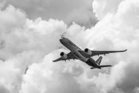 BERLIN, GERMANY - JUNE 02, 2016: Demonstration flight Airbus A350 XWB. Black and white. Exhibition ILA Berlin Air Show 2016