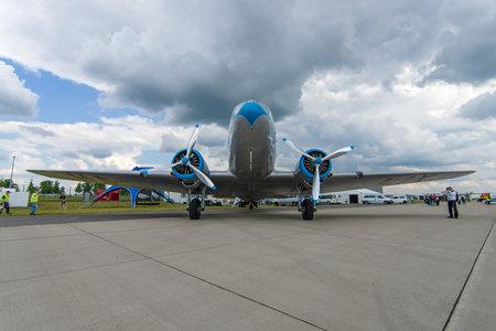 BERLIN, GERMANY - JUNE 02, 2016: Soviet aircraft Lisunov Li-2, Hungarian airline Malev. Exhibition ILA Berlin Air Show 2016
