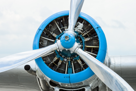 Radial engine of an aircraft. Close-up.
