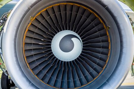 turbofan: Turbofan jet engine close up.