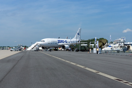 simulate: BERLIN, GERMANY - JUNE 03, 2016: The aircraft to simulate the effects zero gravity Airbus A310 ZERO-G. Exhibition ILA Berlin Air Show 2016 Editorial