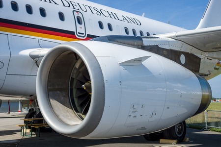turbofan: BERLIN, GERMANY - JUNE 03, 2016: Turbofan of corporate jetliner Airbus A319 CJ Bundesrepublik Deutschland. Exhibition ILA Berlin Air Show 2016