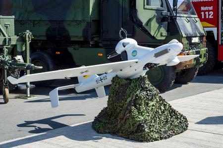 emt: BERLIN, GERMANY - JUNE 03, 2016: An unmanned aerial vehicle EMT Luna X-2000. German Army. Exhibition ILA Berlin Air Show 2016