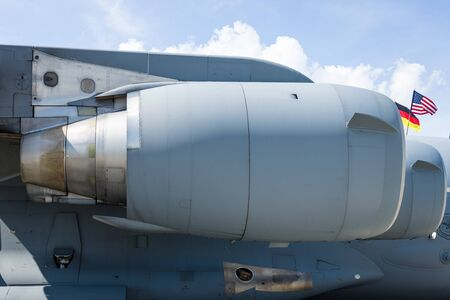 turbofan: BERLIN, GERMANY - JUNE 03, 2016: Turbofan Pratt & Whitney F117-PW-100 of the large military transport aircraft Boeing C-17 Globemaster III. US Air Force. Exhibition ILA Berlin Air Show 2016 Editorial