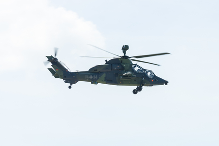 tigre: BERLIN, GERMANY - JUNE 03, 2016: Attack helicopter Airbus Helicopters Tiger. German Army. Exhibition ILA Berlin Air Show 2016
