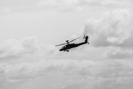 BERLIN, GERMANY - JUNE 03, 2016: Attack helicopter Airbus Helicopters Tiger. Black and white. German Army. Exhibition ILA Berlin Air Show 2016