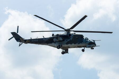 BERLIN, GERMANY - JUNE 03, 2016: Attack helicopter Mil Mi-24 Hind. Czech Air Force. Exhibition ILA Berlin Air Show 2016