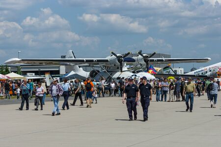 consolidated: BERLIN, GERMANY - JUNE 02, 2016: Maritime patrol and search-and-rescue seaplane Consolidated PBY Catalina (PBY-5A). Exhibition ILA Berlin Air Show 2016 Editorial
