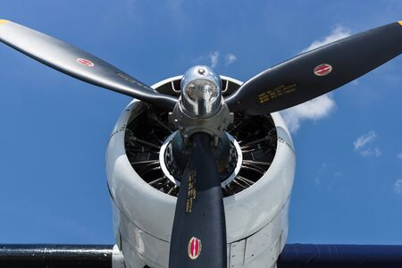consolidated: BERLIN, GERMANY - JUNE 02, 2016: Radial engine of maritime patrol and search-and-rescue seaplane Consolidated PBY Catalina (PBY-5A). Exhibition ILA Berlin Air Show 2016