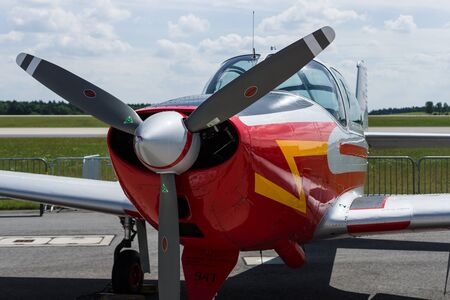monoplane: BERLIN, GERMANY - JUNE 03, 2016: Utility liaison or training monoplane Piaggio P.149D. German Air Force. Exhibition ILA Berlin Air Show 2016 Editorial