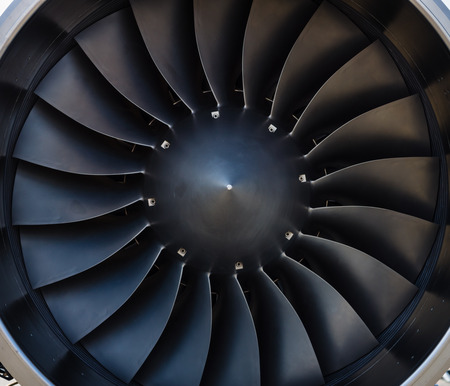 Detail of a modern jet engine. Stock Photo