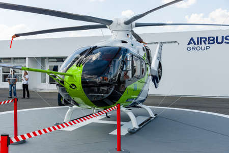 prototype: BERLIN, GERMANY - JUNE 03, 2016: Helicopter Bluecopter Demonstrator by Airbus (prototype). Exhibition ILA Berlin Air Show 2016
