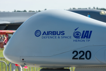 steadfast: ERLIN, GERMANY - JUNE 03, 2016: Detail of reconnaissance UAV IAI Eitan (Steadfast), also known as Heron TP by the Malat division of Israel Aerospace Industries. Exhibition ILA Berlin Air Show 2016
