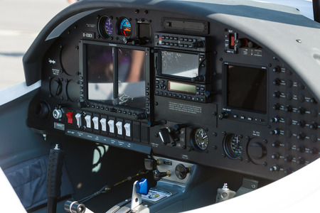 BERLIN, GERMANY - JUNE 03, 2016: Electronic flight instrument system of two seat light aircraft AQUILA AT01-100. Exhibition ILA Berlin Air Show 2016