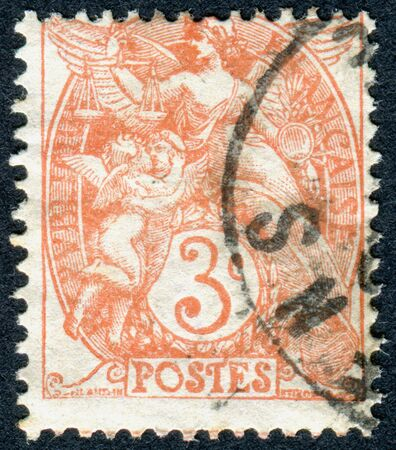 allegory: FRANCE - CIRCA 1900: A stamp printed in France, shows an allegory of Liberty, Equality, Fraternity, circa 1900 Editorial