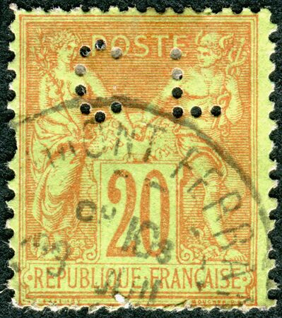 allegory: FRANCE - CIRCA 1876: A stamp printed in France, shows an allegory of Peace and Commerce (perfin CL), circa 1876