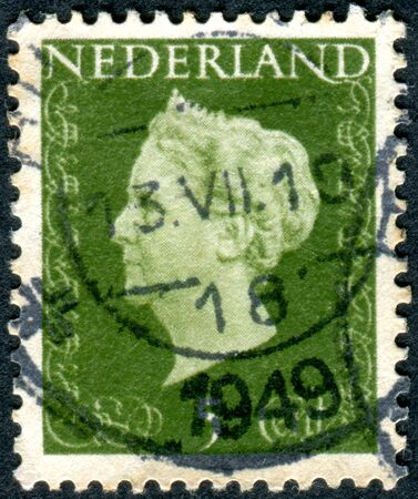 wilhelmina: NETHERLANDS - CIRCA 1948: A stamp printed in the Netherlands, shows Wilhelmina of the Netherlands, circa 1948