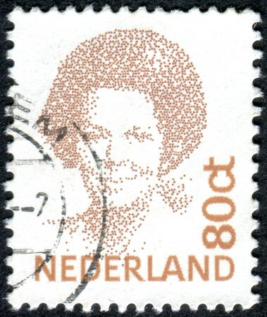 wilhelmina: NETHERLANDS - CIRCA 1991: A stamp printed in the Netherlands, shows Beatrix of the Netherlands, circa 1991 Editorial