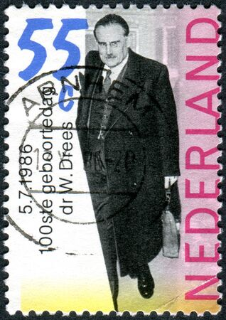 statesman: NETHERLANDS - CIRCA 1986: Postage stamp printed in the Netherlands, shows a Dutch politician of the Labour Party, statesman Willem Drees, circa 1986 Editorial