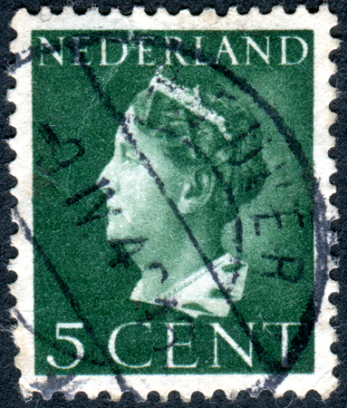 regnant: NETHERLANDS - CIRCA 1940: A stamp printed in the Netherlands, shows Wilhelmina of the Netherlands, circa 1940