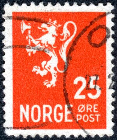 rampant: NORWAY - CIRCA 1923: Postage stamp printed in Norway, depicted Lion Rampant, circa 1923 Editorial