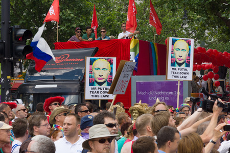 duma: BERLIN, GERMANY - JUNE 22, 2013: Christopher Street Day. Demonstration of support for gays and lesbians of Russia against homophobic of the Act passed by the State Duma of the Russian Federation.