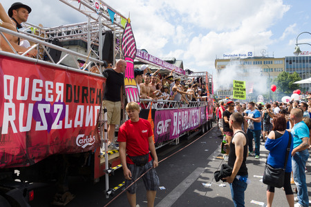 BERLIN, GERMANY - JUNE 22, 2013: Christopher Street Day. Demonstration of support for gays and lesbians of Russia against homophobic of the Act passed by the State Duma of the Russian Federation.