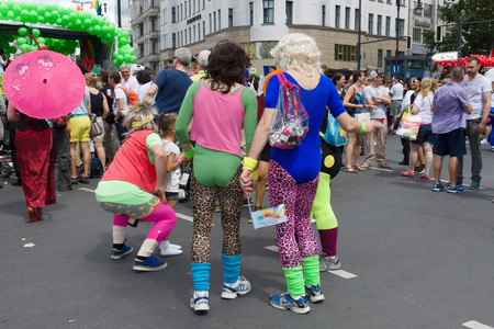 transsexual: BERLIN, GERMANY - JUNE 22, 2013: Christopher Street Day. The annual European LGBT celebration and demonstration for the rights of LGBT people, and against discrimination and exclusion. Editorial
