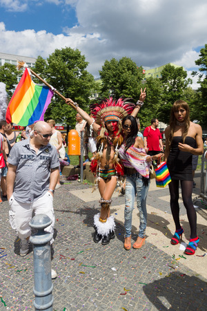 homophobia: BERLIN, GERMANY - JUNE 22, 2013: Christopher Street Day. The annual European LGBT celebration and demonstration for the rights of LGBT people, and against discrimination and exclusion. Editorial