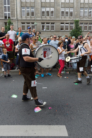 transsexual: BERLIN, GERMANY - JUNE 22, 2013: Christopher Street Day. The annual European LGBT celebration and demonstration for the rights of LGBT people. Drum Team.