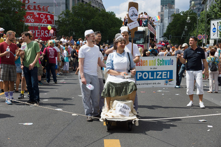 transsexual: BERLIN, GERMANY - JUNE 22, 2013: Christopher Street Day. The annual European LGBT celebration and demonstration for the rights of LGBT people. Members of the City Police Department. Editorial