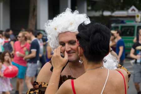 transsexual: BERLIN, GERMANY - JUNE 22, 2013: Christopher Street Day. The annual European LGBT celebration and demonstration for the rights of LGBT people. Editorial